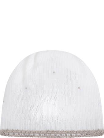 Little Bear White Hat For Babykids With Polka-dots