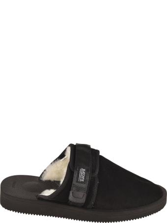SUICOKE Fur Applique Side Strap Sandals