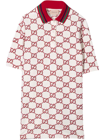 Gucci White And Red Dress With Logo, Short Sleeve, Straight Hem And Classic Collar