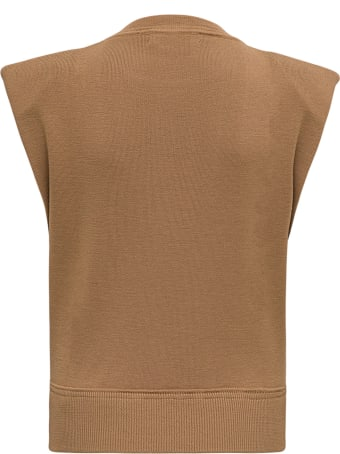 Mauro Grifoni Brown Wool Vest With Padded Shoulder Straps