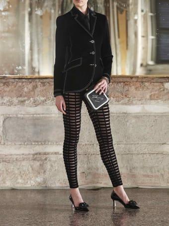 Genny Black Open-knit Trousers