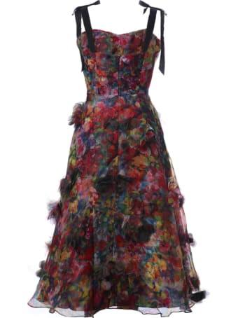 Marchesa Ruffle Detail Printed Dress