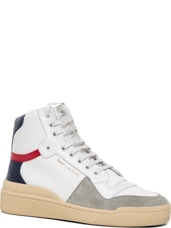 Saint Laurent Sl24 Mid-top  Canvas And Leather Sneakers