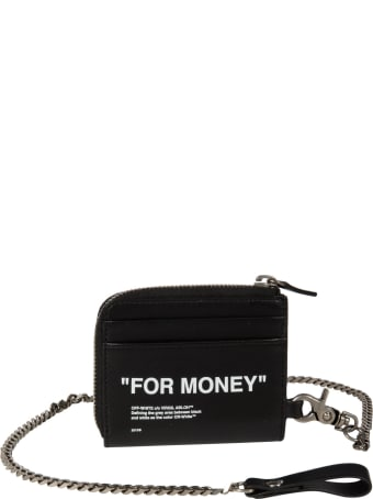 Off-White Calf Skin Quote Chain Wall Shoulder Bag