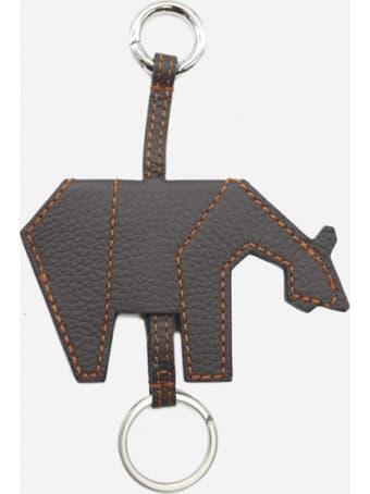 Zanellato Leather Keychain With Contrasting Stitching