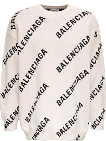 Balenciaga White Wool Blend Sweater With Allover Logo Print
