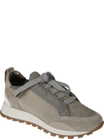 Brunello Cucinelli Bead Embellished Mesh Paneled Sneakers