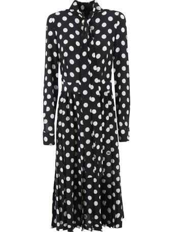 Dolce & Gabbana Polka Dot Pleated Long Dress