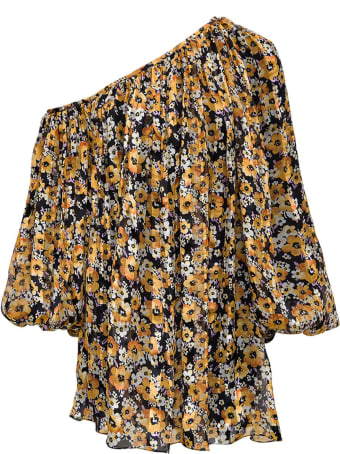 Saint Laurent Floral Silk Asymmetrical Dress