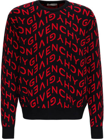 Givenchy Wool Sweater With Allover Refracted Logo Jacquard