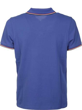 Moncler Stripe Trim Logo Patched Polo Shirt