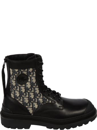 Christian Dior Leg Motif Logo Lace-up Boots