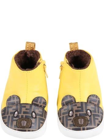Fendi Yellow Boots For Baby Kids Wih Bear