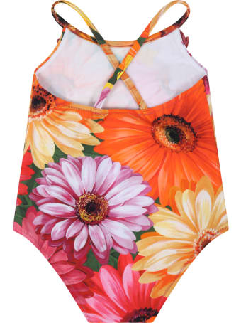 Dolce & Gabbana Multicolor Swimsuit For Baby Girl With Logo