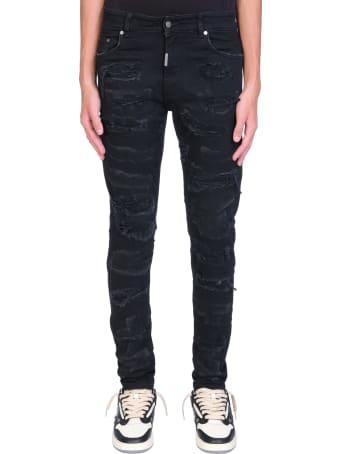 REPRESENT Shredded Jeans In Black Denim