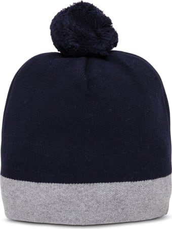 Chloé Blue And Grey Wool Hat With Logo