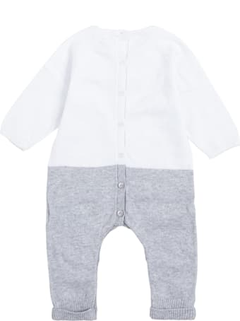 Givenchy White And Grey Cotton And Cashmere Onesie With Logo