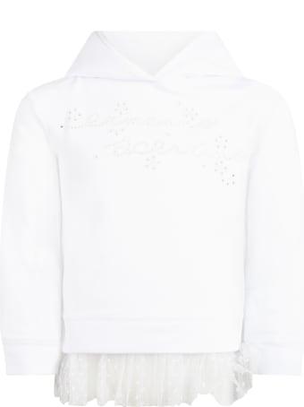 Ermanno Scervino Junior White Sweatshirt For Girl With Logo