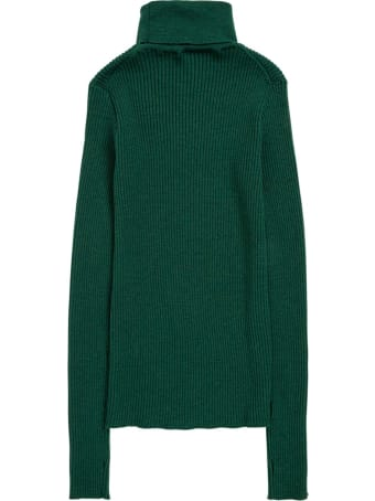 Gucci High Neck Sweater In Green Wool With Logo