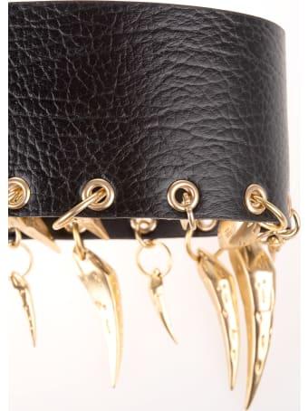 Roberto Cavalli Woman Black Leather Belt With Golden Fangs