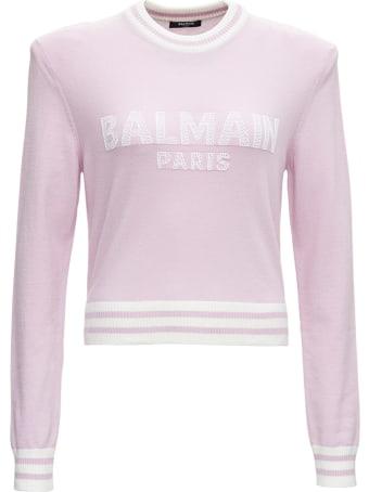 Balmain Pink Wool Sweater With Logo