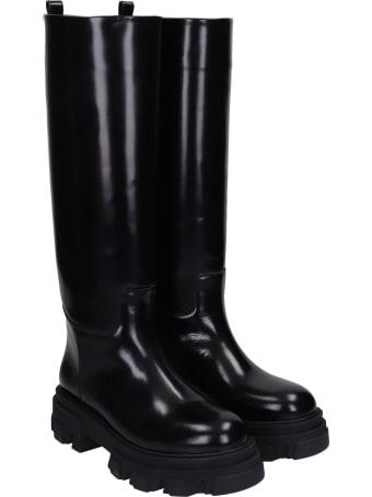 Gia X Pernille Teisbaek Perni 07 Low Heels Boots In Black Leather