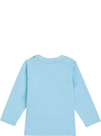 Moschino Long-sleeved T- Shirt In Light Blue Cotton With Teddy Bear