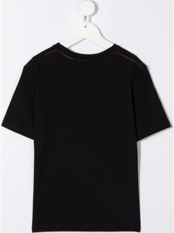 Stella McCartney Kids Black Cotton T-shirt With Logo Print