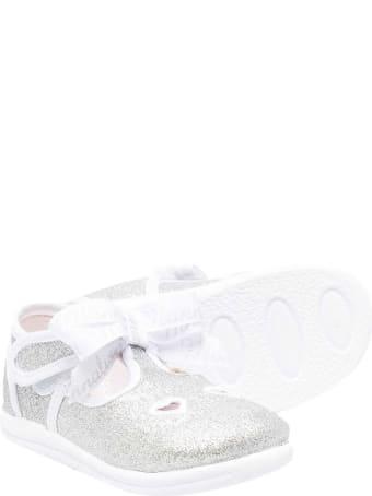 Monnalisa Glitter Silver Ballet Flats