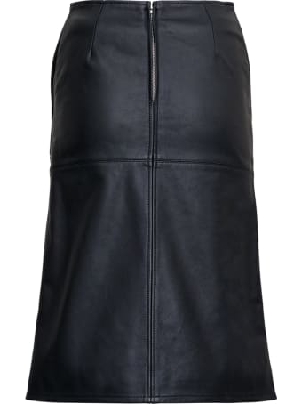 Mauro Grifoni A Line Black Leather Skirt