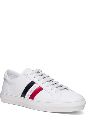 Moncler Monaco Low Sneakers In White Leather