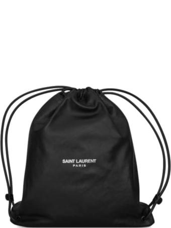 Saint Laurent Logo Print Drawstraing Backpack