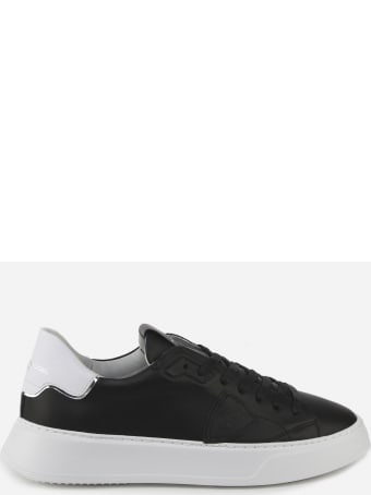 Philippe Model Temple Sneakers In Leather With Contrasting Heel Tab