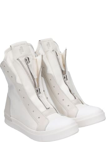 Cinzia Araia Sneakers In White Leather And Fabric