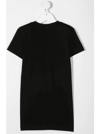 Balmain Kid Black Maxi T-shirt Dress With Starss Logo