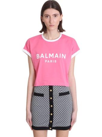 Balmain T-shirt In Rose-pink Cotton