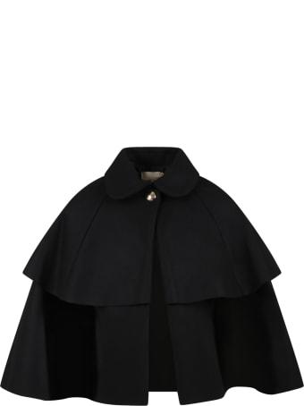 Elie Saab Black Cape For Girl With Metallic Logo