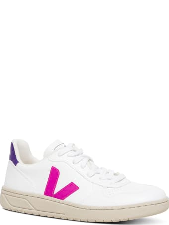 Veja White Vegan Leather Sneakers With Side Logo