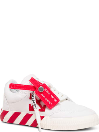 Off-White Low Vulcanized  White And Red Fabric Sneakers