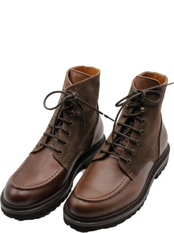 Brunello Cucinelli Ankle Shoe In Smooth And Split Leather With Laces And Wagon Sole