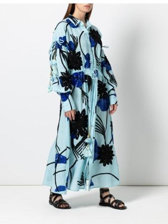 Christian Pellizzari Light Blue Long Linen Embroidery Shirt Dress
