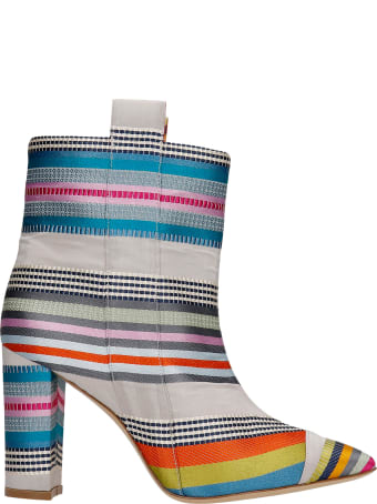 Bams High Heels Ankle Boots In Grey Fabric