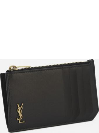 Saint Laurent Leather Card Holder With Monogram Detail