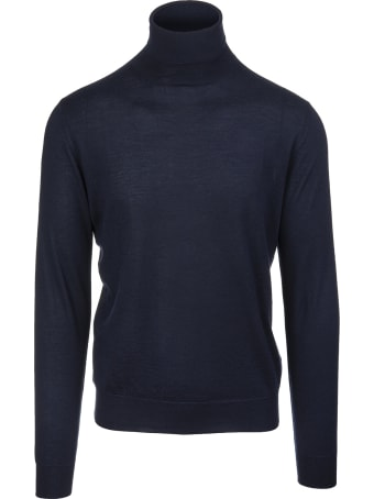 Fedeli Man Navy Blue Turtleneck Pullover In Cashmere And Silk