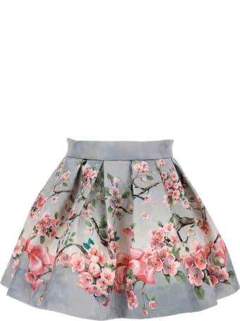 Monnalisa Floral Skirt In Cotton Blend