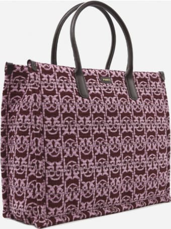 Pinko Handbag In Cotton Blend With All-over Monogram