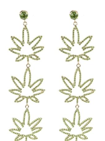 GCDS Crystal-embellished Leaf Earrings