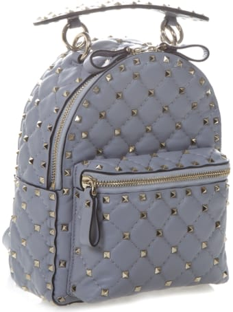 Valentino Garavani Light Blue Valentino Rockstud Spike Mini Backpack In Quilted Leather