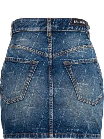 Balenciaga Denim Skirt With Allover Logo