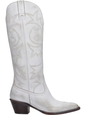 Buttero Texan Boots In White Leather